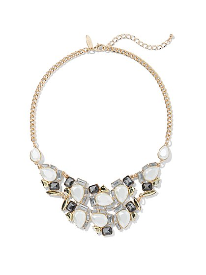 Sparkling Faux-Stone Goldtone Bib Necklace - New York & Company
