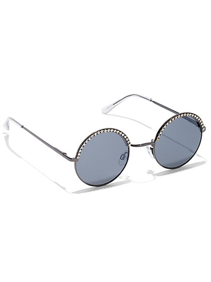 Sparkling Faux-Stone Round Sunglasses - New York & Company