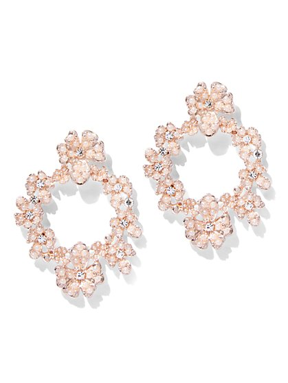 Sparkling Floral Hoop Drop Earring - New York & Company