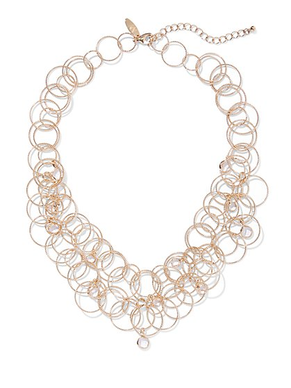 Sparkling Goldtone Circle Necklace - New York & Company