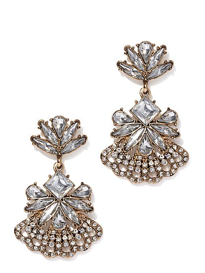 Sparkling Goldtone Drop Earring - New York & Company