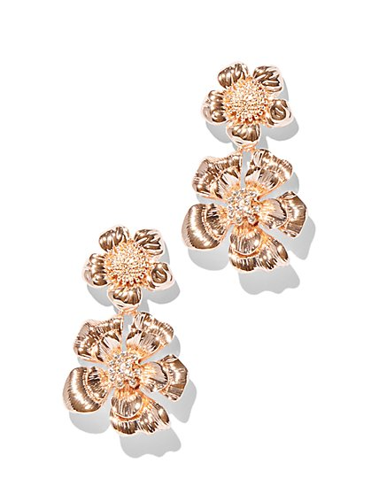 Sparkling Goldtone Floral Drop Earring - New York & Company