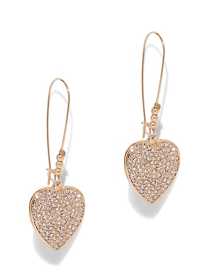 Sparkling Goldtone Heart-Shaped Drop Earring - New York & Company