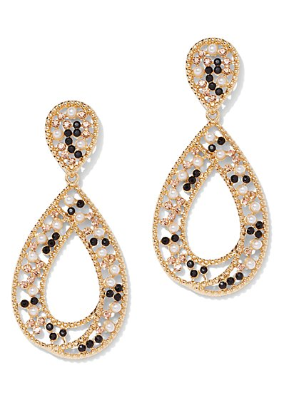 Sparkling Goldtone Teardrop Earring - New York & Company