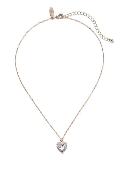 Sparkling Heart Pendant Necklace - New York & Company