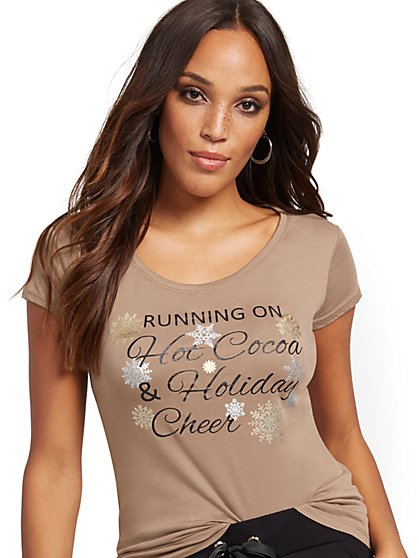 "Sparkling ""Holiday Cheer"" Graphic Tee - New York & Company"