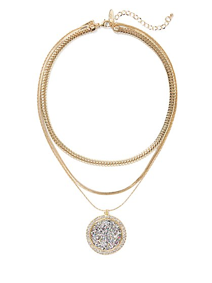 Sparkling Layered Pendant Necklace - New York & Company