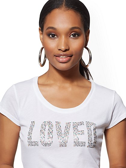 "Sparkling ""Loved"" Graphic Logo Tee - New York & Company"