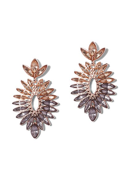 Sparkling Ombre Goldtone Drop Earring - New York & Company
