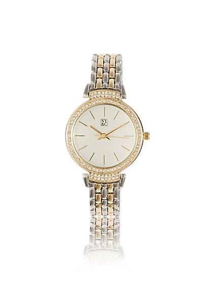 Sparkling Pave Link Watch - New York & Company