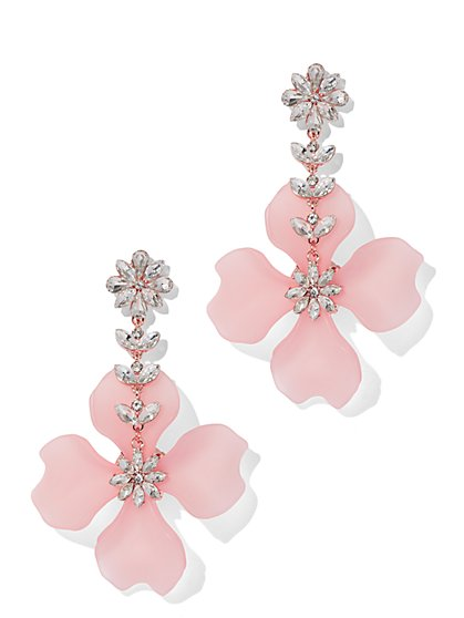 Sparkling Pink Floral Drop Earring - New York & Company