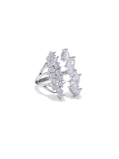 Sparkling Silvertone Cocktail Ring - New York & Company