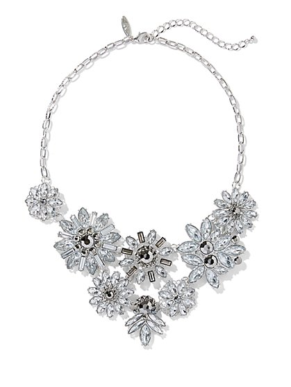 Sparkling Silvertone Floral Statement Necklace - New York & Company