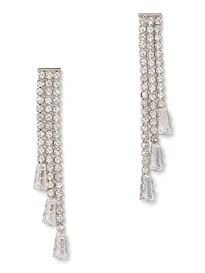 Sparkling Silvertone Linear Drop Earring - New York & Company