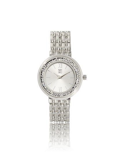 Sparkling Silvertone Link Watch - New York & Company