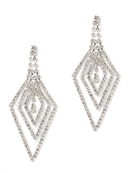 Sparkling Silvertone Statement Earring - New York & Company
