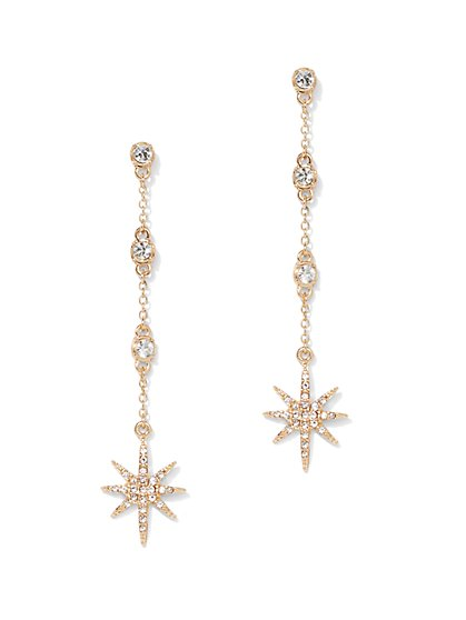 Sparkling Star-Accent Linear Drop Earring - New York & Company