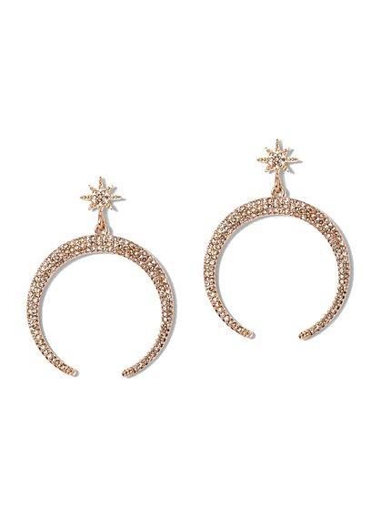 Sparkling Star & Moon Drop Earring - New York & Company