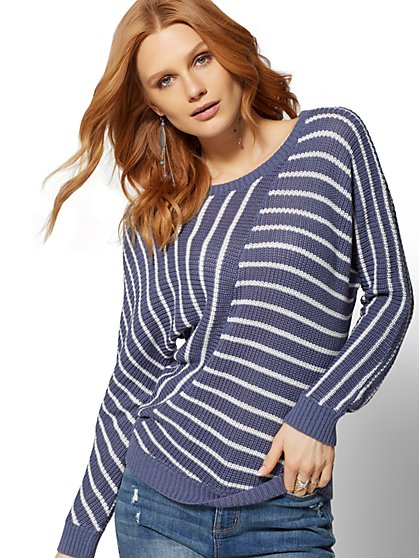 Splice-Stripe Dolman Sweater - New York & Company