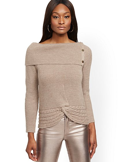 Split-Collar Sweater - New York & Company