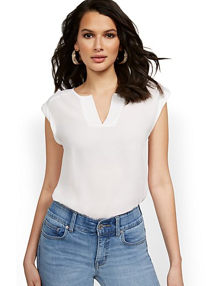 Split-Neck Blouse - 7th Avenue - New York & Company