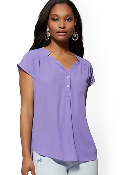 Split-Neck Blouse - Soho Soft Shirt - New York & Company