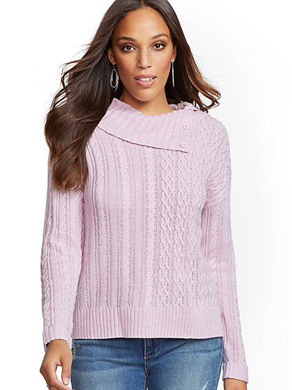 Split-Neck Cable-Knit Sweater - New York & Company