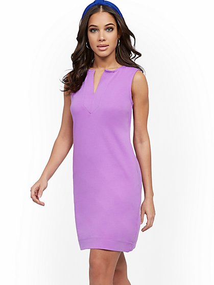 Split-Neck Cotton Shift Dress - New York & Company