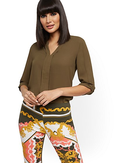 Split-Neck Knot-Sleeve Blouse - New York & Company