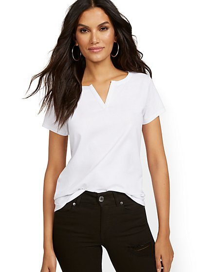 Split-Neck Perfect Tee - New York & Company