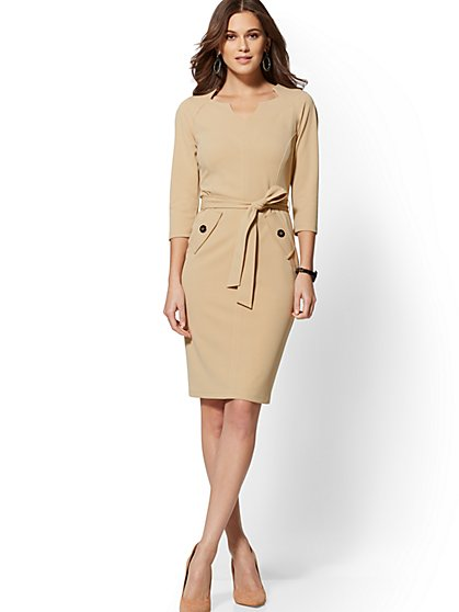 Split-Neck Scuba Crepe Sheath Dress - Magic Crepe - 7th Avenue - New York & Company