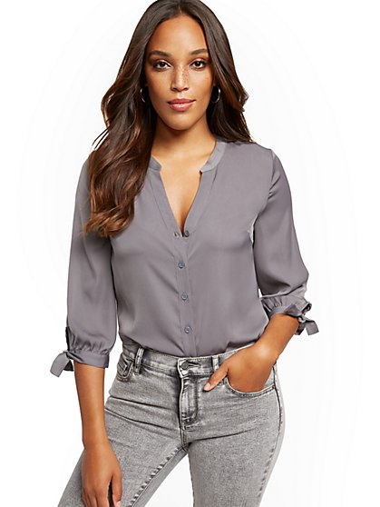 Split-Neck Shirt - Soho Soft Blouse - New York & Company