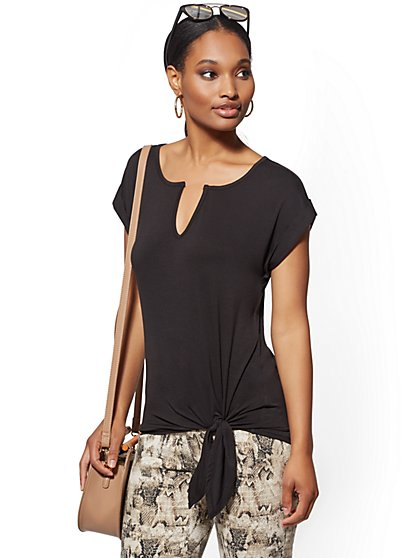Split-Neck Side-Tie Top - Soho Soft Tee - New York & Company