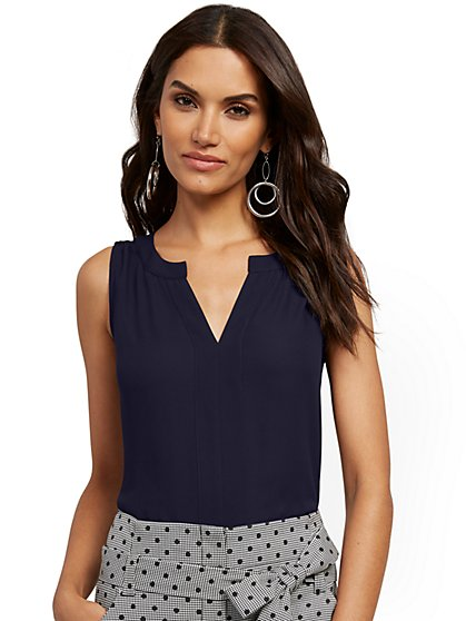 Split-Neck Sleeveless Top - New York & Company