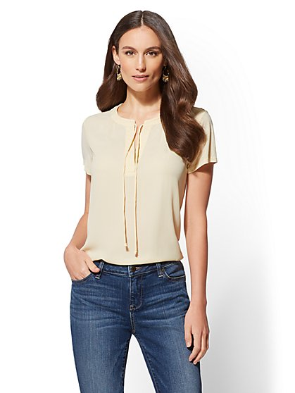 Split-Neck Tie-Front Top - New York & Company