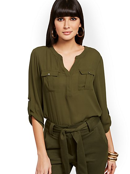 Split-Neck Utility Blouse - New York & Company