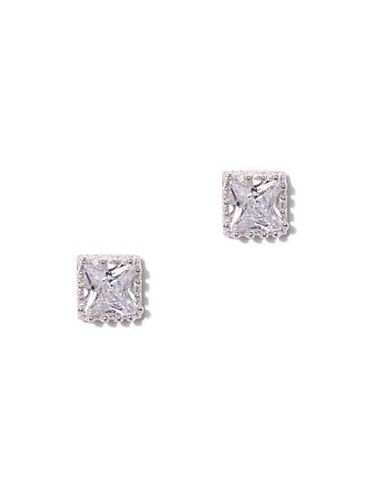 Square Cubic Zirconia Sterling Silver Crown Post Earring - New York & Company