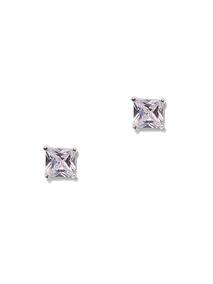Square Cubic Zirconia Sterling Silver Post Earring - New York & Company