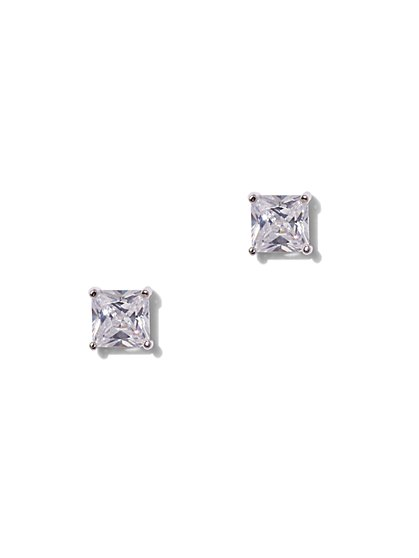 Square-Cut Cubic Zirconia Sterling Silver Post Earring - New York & Company