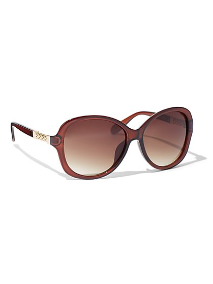 Square Goldtone-Hardware Sunglasses - New York & Company