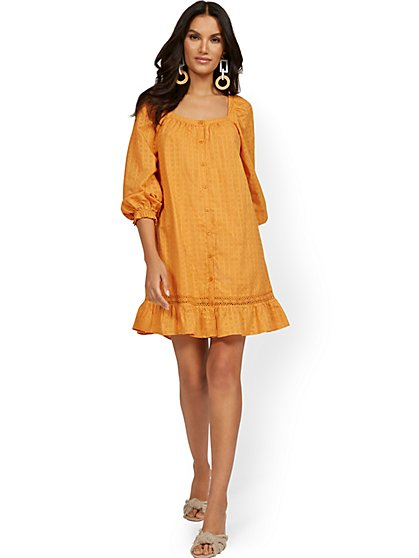 Square-Neck Balloon-Sleeve Eyelet Ruffle Dress - New York & Company
