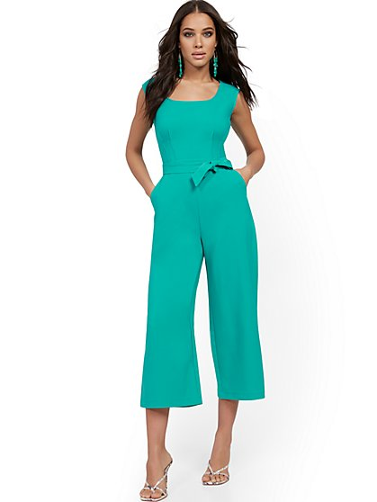 Square-Neck Belted Jumpsuit - New York & Company