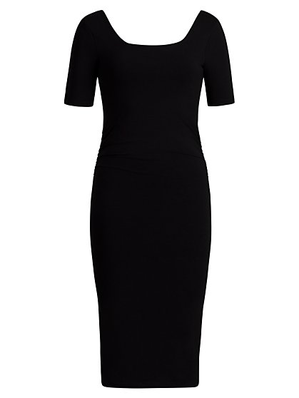 Square-Neck Midi Sheath Dress - New York & Company