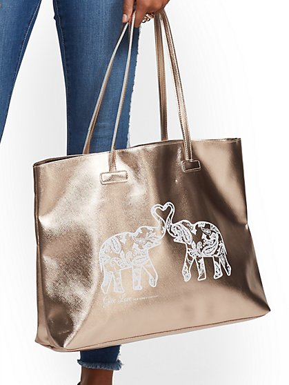 "St. Jude Metallic ""Give Love"" Tote Bag - New York & Company"