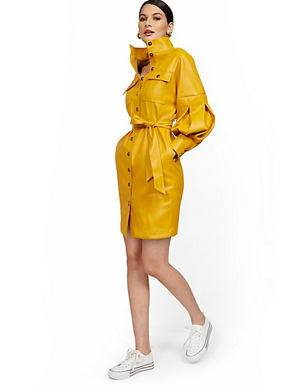 Statement Sleeve Faux Leather Dress - New York & Company