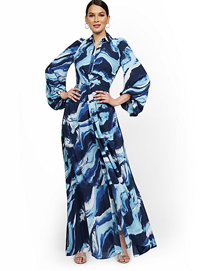 Statement-Sleeve Twist-Front Maxi Shirtdress - New York & Company