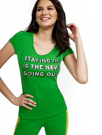 Stay In Graphic Tee - New York & Company