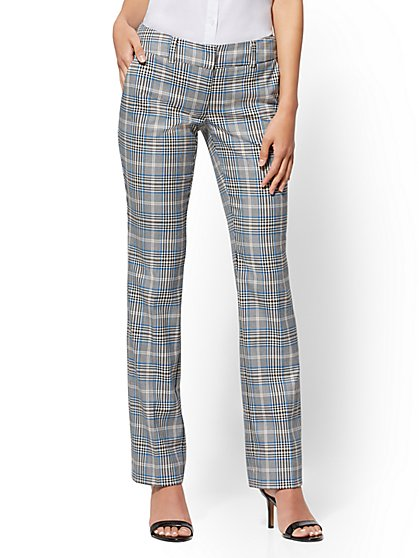 Straight Leg Pant - Mid Rise - Blue Plaid - 7th Avenue - New York & Company