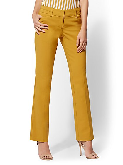 Straight Leg Pant - Signature Fit - Gold - All-Season Stretch - 7th Avenue - New York & Company
