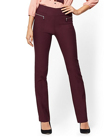 Straight Leg Pull-On Pant - Zip Accent - 7th Avenue - New York & Company